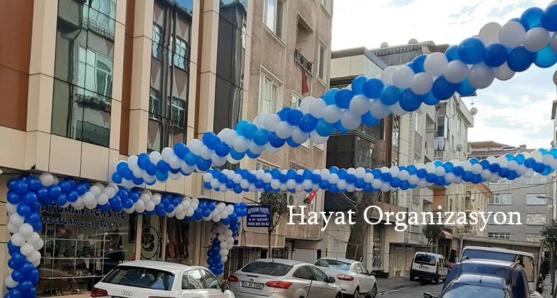 mavi beyaz balon süsleme açılış organizasyonu